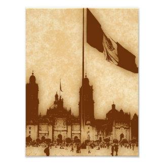 Catedral en el Zocalo del DF con la Bandera 11 Photograph