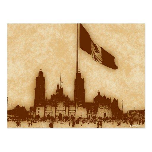 Catedral en el Zocalo del DF con la Bandera 11 Postcards
