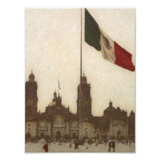 Catedral en el Zocalo del DF con la Bandera 12 Art Photo