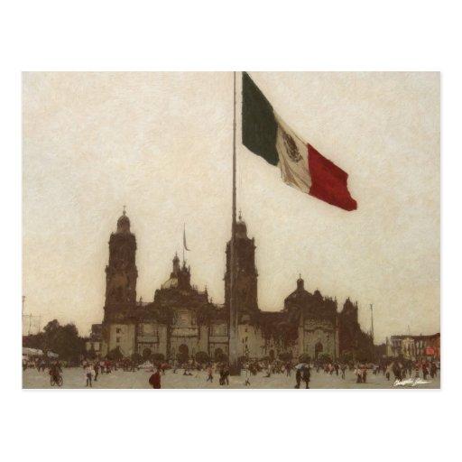 Catedral en el Zocalo del DF con la Bandera 12 Post Cards