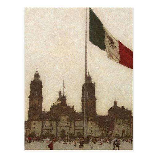 Catedral en el Zocalo del DF con la Bandera 12 Post Card
