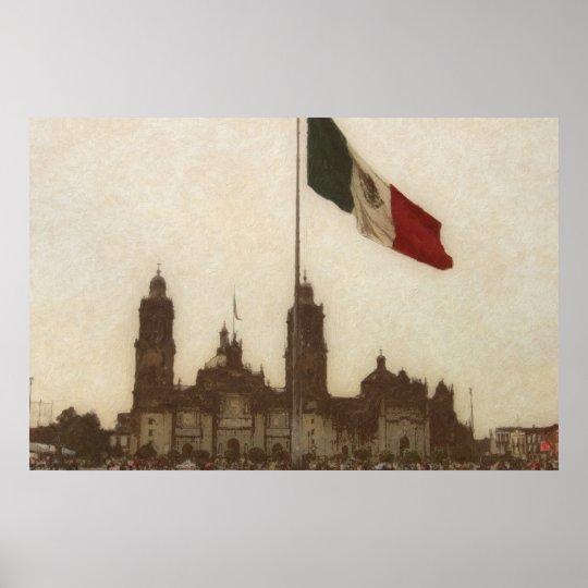 Catedral en el Zocalo del DF con la Bandera 12 Poster