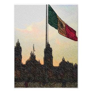 Catedral en el Zocalo del DF con la Bandera 2.jpg Photograph