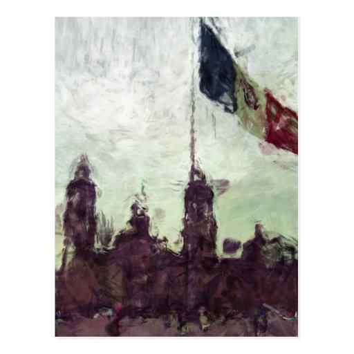 Catedral en el Zocalo del DF con la Bandera 3 Post Card