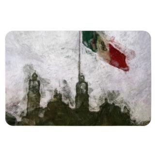 Catedral en el Zocalo del DF con la Bandera 4 Rectangular Photo Magnet