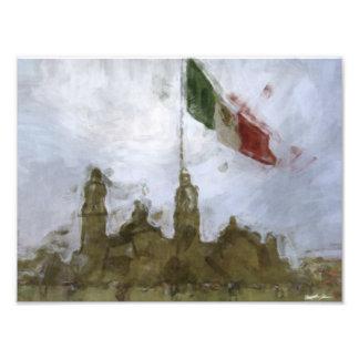 Catedral en el Zocalo del DF con la Bandera 5.jpg Photographic Print