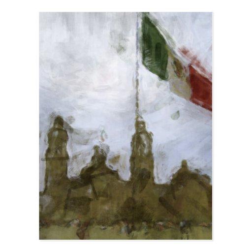 Catedral en el Zocalo del DF con la Bandera 5.jpg Postcard