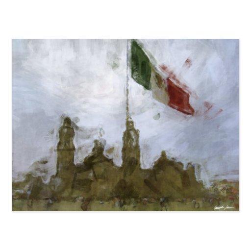 Catedral en el Zocalo del DF con la Bandera 5.jpg Post Card