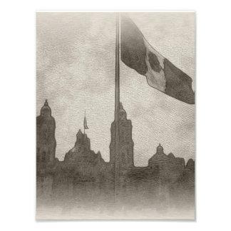 Catedral en el Zocalo del DF con la Bandera 6 Photograph