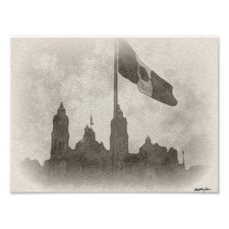 Catedral en el Zocalo del DF con la Bandera 6 Photographic Print