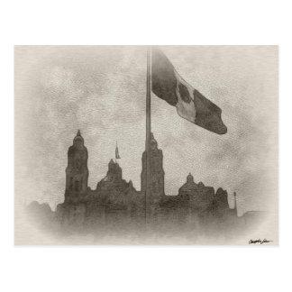 Catedral en el Zocalo del DF con la Bandera 6 Postcard