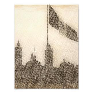 Catedral en el Zocalo del DF con la Bandera 7 Photographic Print