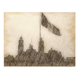 Catedral en el Zocalo del DF con la Bandera 7 Postcard