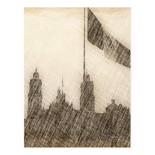 Catedral en el Zocalo del DF con la Bandera 7 Postcards