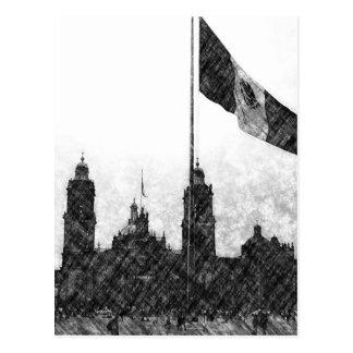 Catedral en el Zocalo del DF con la Bandera 8 Postcard