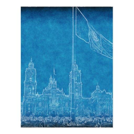 Catedral en el Zocalo del DF con la Bandera 9.jpg Post Card
