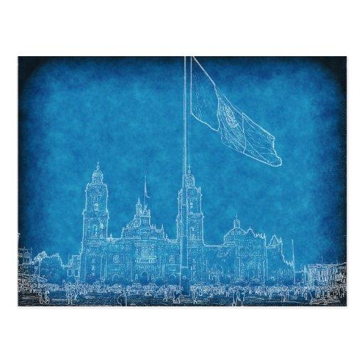 Catedral en el Zocalo del DF con la Bandera 9.jpg Post Cards