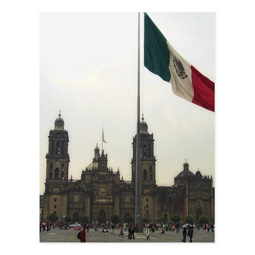 Catedral en el Zocalo del DF con la Bandera Mexica Post Cards