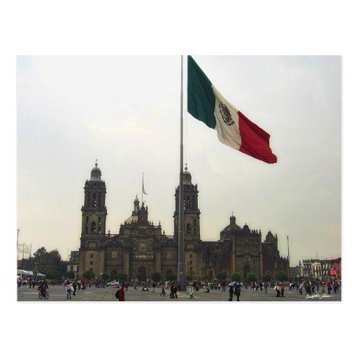 Catedral en el Zocalo del DF con la Bandera Mexica Postcard
