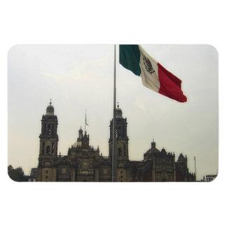 Catedral en el Zocalo del DF con la Bandera Mexica Rectangular Photo Magnet