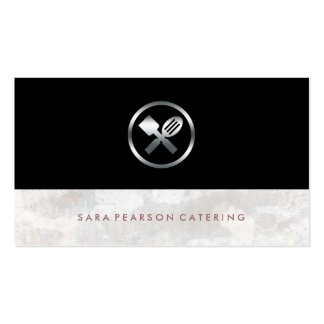 Caterer Bold Silver Utensils Icon Food Services Pack Of Standard Business Cards