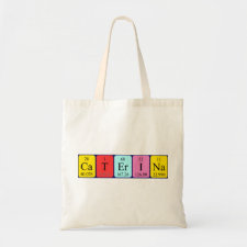 Bag featuring the name Caterina spelled out in symbols of the chemical elements