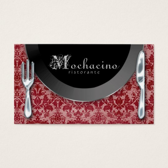 Catering Business Cards Cutlery Plate Red