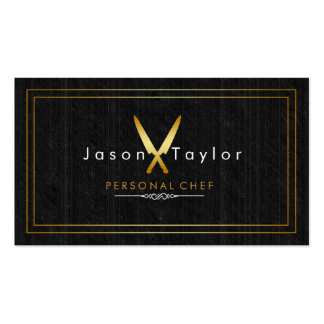 Catering Retro Black Wood Chef Gold Knife Crossed Pack Of Standard Business Cards