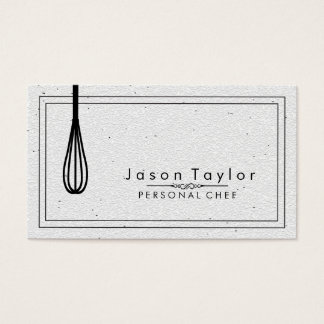 Catering Retro Stone White Chef Black whisk Business Card