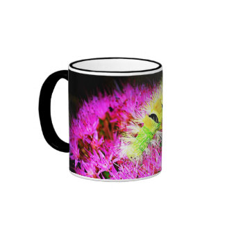 caterpillar and pink flowers coffee mugs