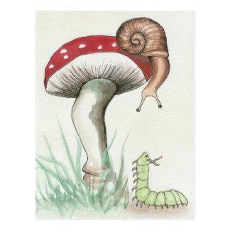 Caterpillar and Snail Postcard