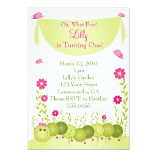 Caterpillar Birthday Invitations