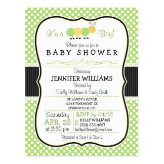 Caterpillar; Green Polka Dots Baby Shower Postcard
