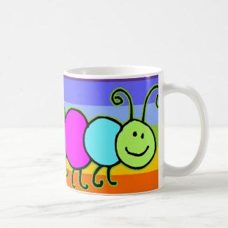 Caterpillar Netty | stripes chakren color Basic White Mug