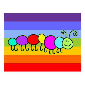 Caterpillar Netty | stripes chakren color Postcard