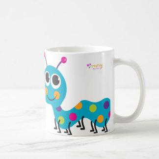 Caterpillar Notecard on Hot Pink Background Basic White Mug