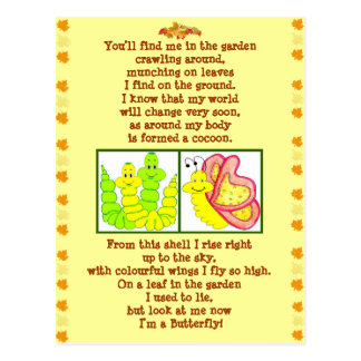 Caterpillar poem post card