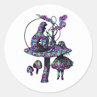 Caterpillar Psychadelic Classic Round Sticker