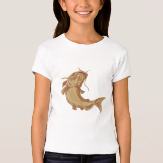 Catfish Mud Cat Going Up Drawing Tees