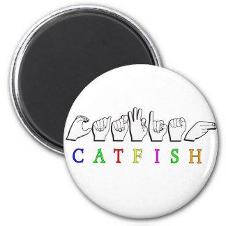 CATFISH NAME SIGN ASL FINGERSPELLED 6 CM ROUND MAGNET