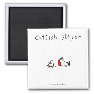 Catfish Slayer Square Magnet