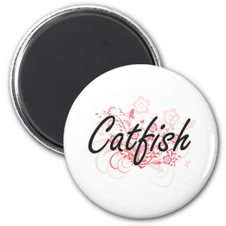 Catfish with flowers background 6 cm round magnet