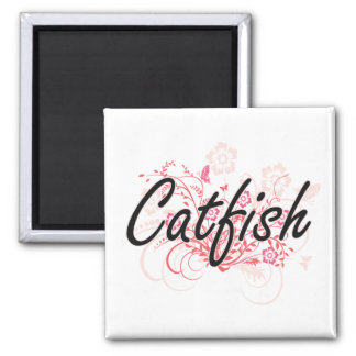 Catfish with flowers background square magnet