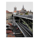 Cathedral and Bessieres bridge in Lausanne Posters