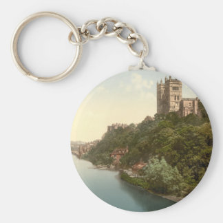 Cathedral and Church, Durham, England Basic Round Button Key Ring