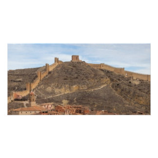 Cathedral and city walls Albarracín Aragon Spain Customized Photo Card