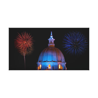 Cathedral and Fireworks Stretched Canvas Prints