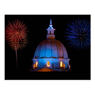 Cathedral and fireworks postcard