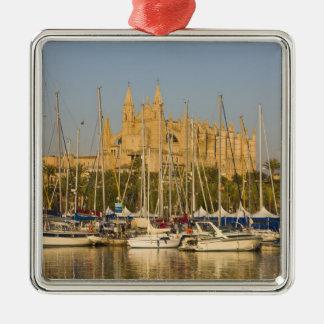 Cathedral and marina, Palma, Mallorca, Spain 2 Silver-Colored Square Decoration