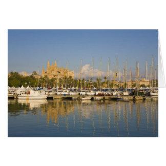 Cathedral and marina, Palma, Mallorca, Spain Card